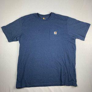 Vintage Carhartt Pocket Logo Blue T Shirt XXL
